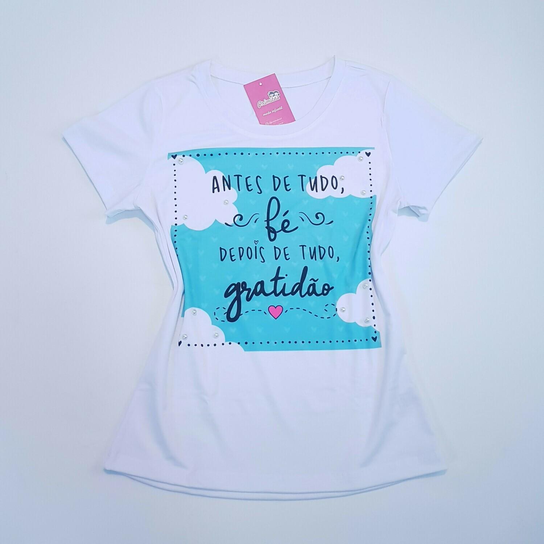 T-Shirt Adulto Fé Gratidão Tam P