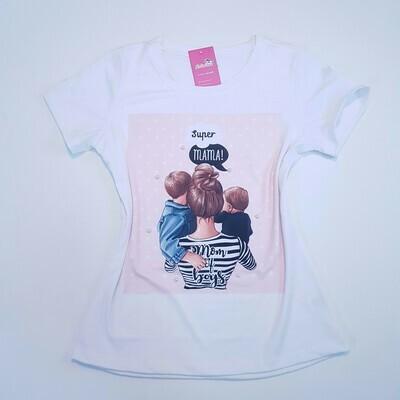 T-Shirt Adulto Mãe de 2 meninos Tam M