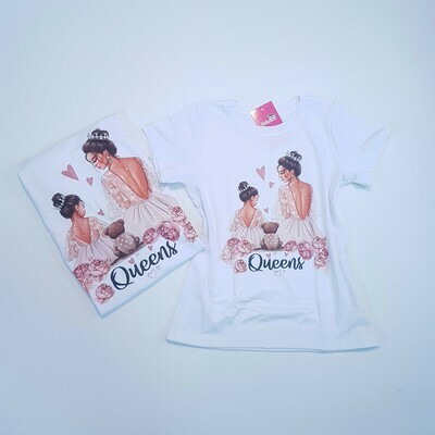 T-Shirt Adulto Branca Queens Kit Mãe e Filha Tam P / 6
