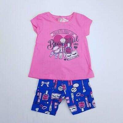 Conjunto Blusa e Short Feminino Cor Rosa e Azul