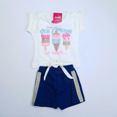 Conjunto Blusa e Short saia Feminino Cor off white e Azul