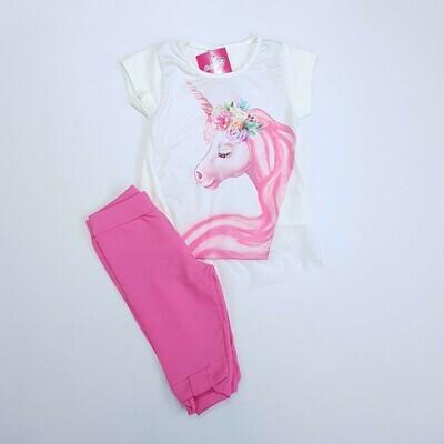 Conjunto Blusa e legging Feminino, Cor off white e rosa