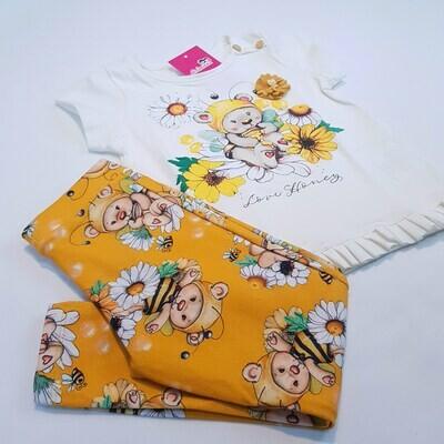 Conjunto Blusa e Legging, Cor Amarelo