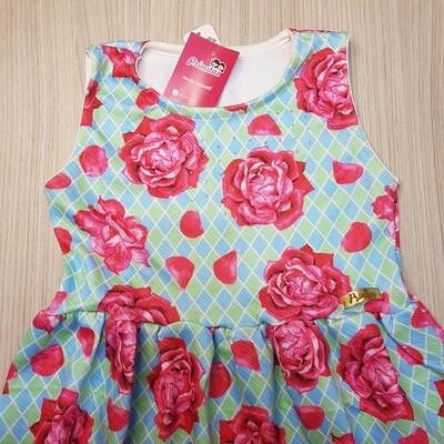 Vestido infantil Cor Turquesa com Rosas Vermelhas