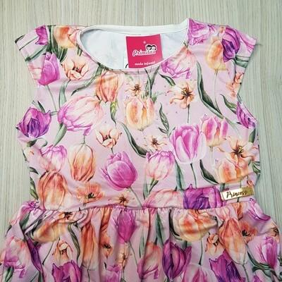 Vestido infantil Cor Rosa com Flores Lilás