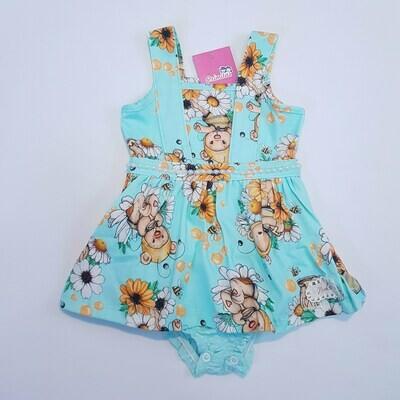 Vestido Body Bebê Cor Turquesa