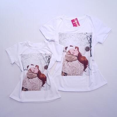 T-Shirt Adulto Kit Mãe e Filha Ruiva Adulto Tam P