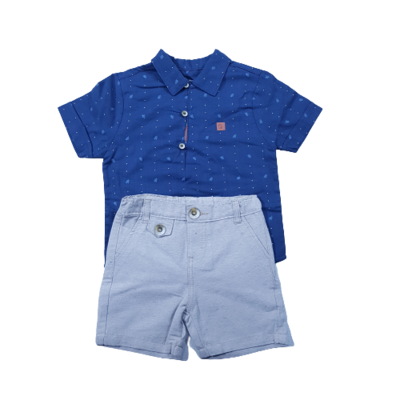 Conjunto camisa e bermuda em sarja