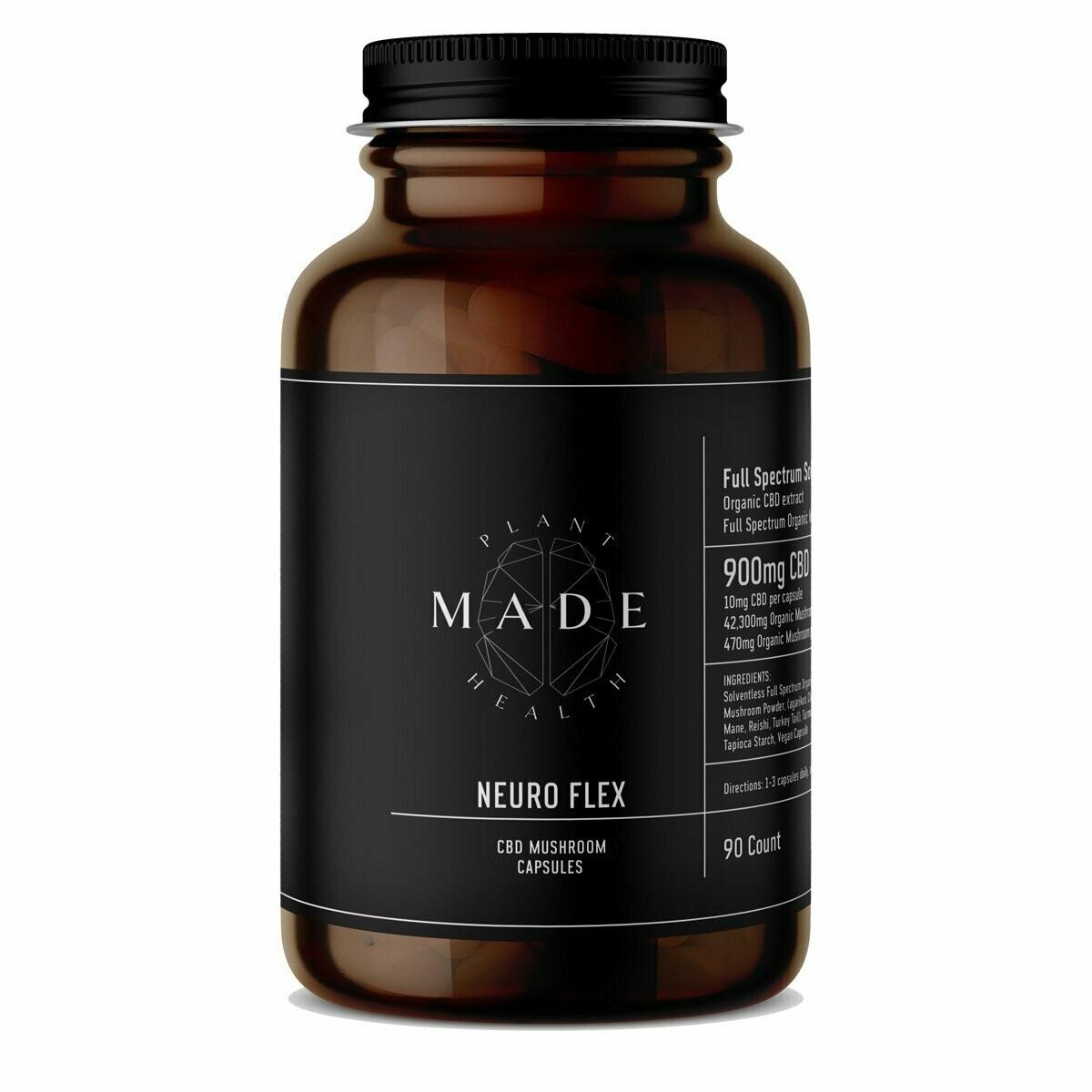 MADE Plant Health - Neuro Flex FS CBD and Mushroom Blend, 10mg/470mg per capsule - 90ct.