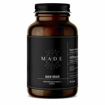 MADE Plant Health - Main Brain 400mg Lion's Mane, 5mg Niacin + Omega-3 Capsules - 90Ct.