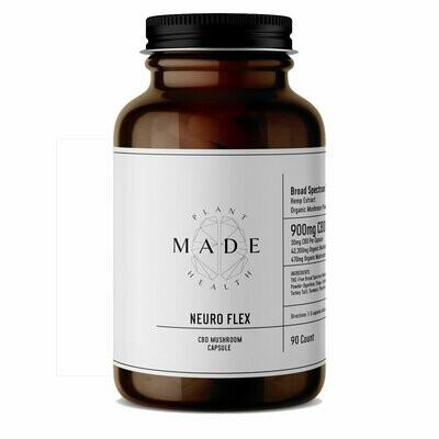 MADE Plant Health - Neuro Flex THC-Free CBD and Mushroom Blend, 10mg/470mg per capsule - 90ct.