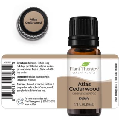 Plant Therapy® Organic Atlas Cedarwood Essential Oil, 1/3 fl oz (10mL)