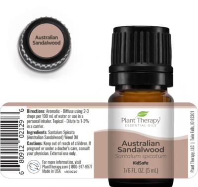 Plant Therapy® Australian Sandalwood Essential Oil, 1/6 fl oz (5mL)