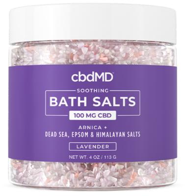 cbdMD 100mg Soothing Lavender CBD Bath Salts - 4oz jar
