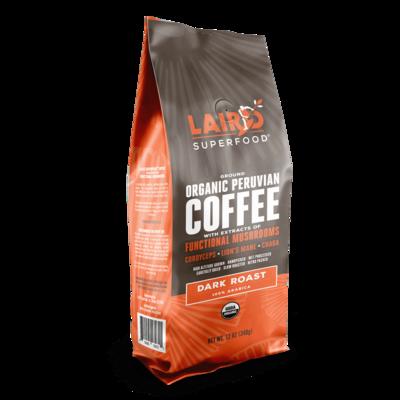 Laird SuperFood® Ground Organic Peruvian Coffee with Functional Mushrooms (Dark Roast, 100% Arabica) 12oz