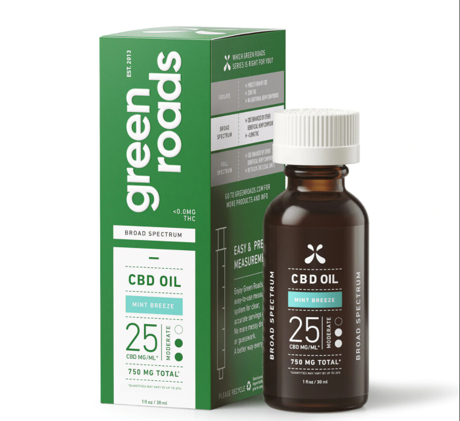 Green Roads 750mg Brod Spec CBD Tincture Mint Breeze 30mL