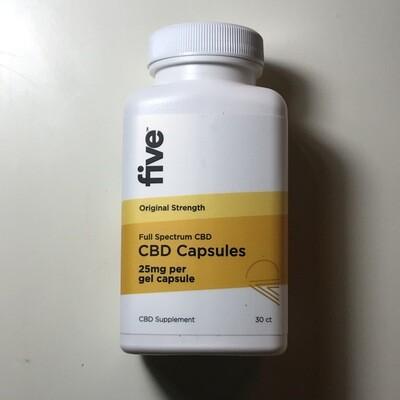 Five CBD 25MG Full Spectrum CBD Capsules - 30ct.