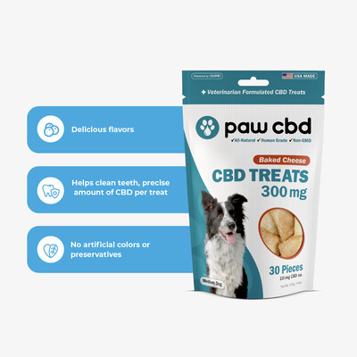 Paw CBD Dog Treats - 300MG Baked Cheese - 30ct