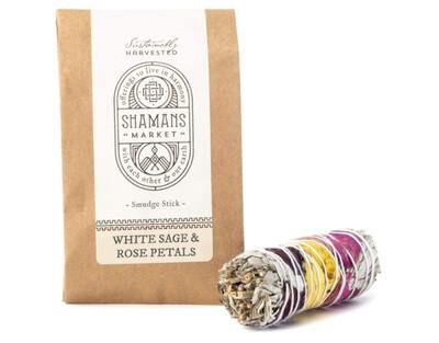 White Sage & Rose Petal Smudge Stick