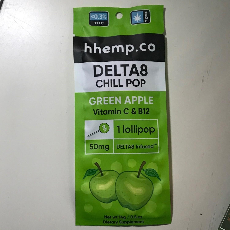Hhemp.co Delta 8 Infused Lollipops 50mg Per Pop- Green Apple