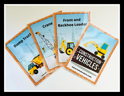 Construction Vehicles Flash Cards