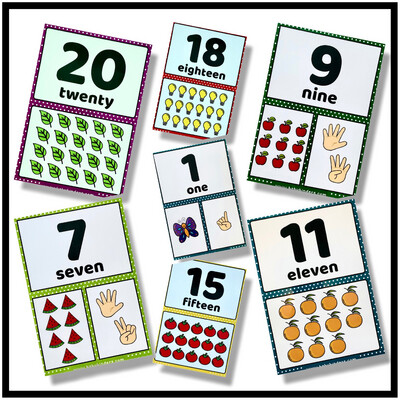 1-20 Numbers Flash cards