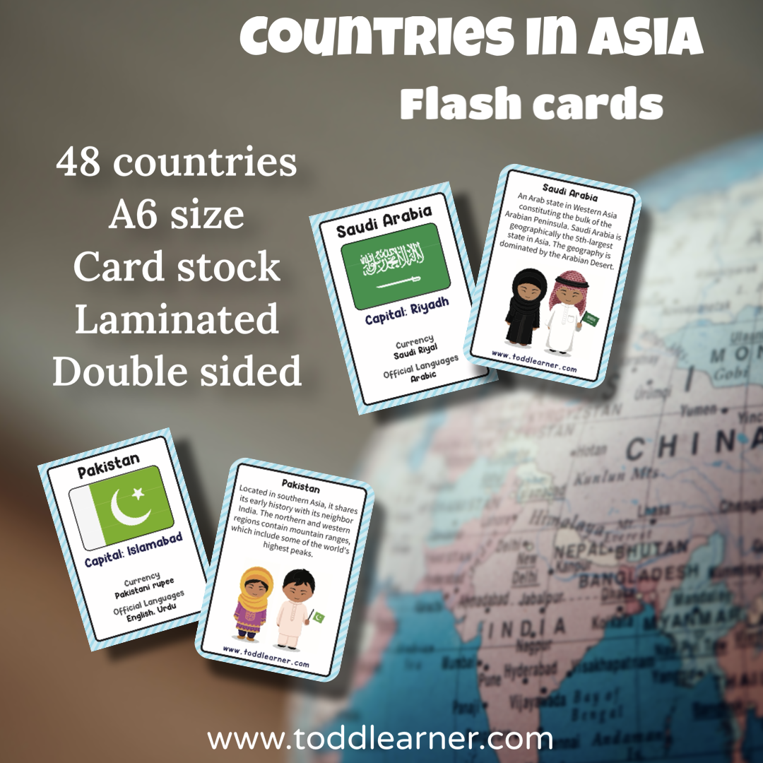 Countries Flash Cards - Asia