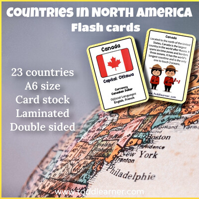 Countries Flash Cards-North America