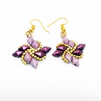 Windmill purple , gold earrings
