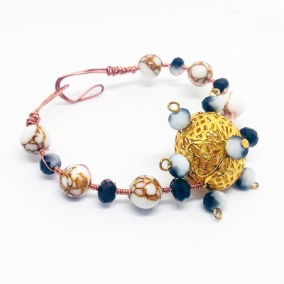 Howlite wrapped copper bracelet