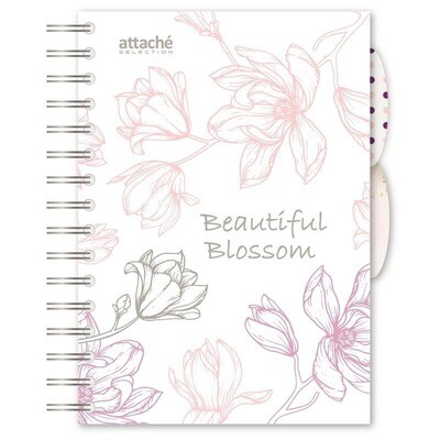 Бизнес-тетрадь Attache Selection Flower Dreams A5 140 листов белая в клетку на спирали (170х205 мм)  А 1059960