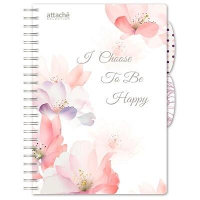 Бизнес-тетрадь Attache Selection Flower Dreams A4 140 листов белая в клетку на спирали (225х300 мм) 1059959