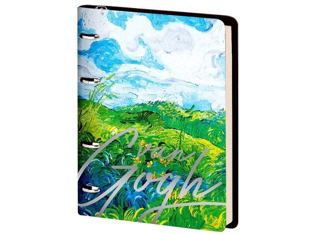 "Тетрадь на кольцах А5, 80л. ЛАЙТ, кожзам, Greenwich Line ""Vision. Van Gogh. Fields"", тон. блок"