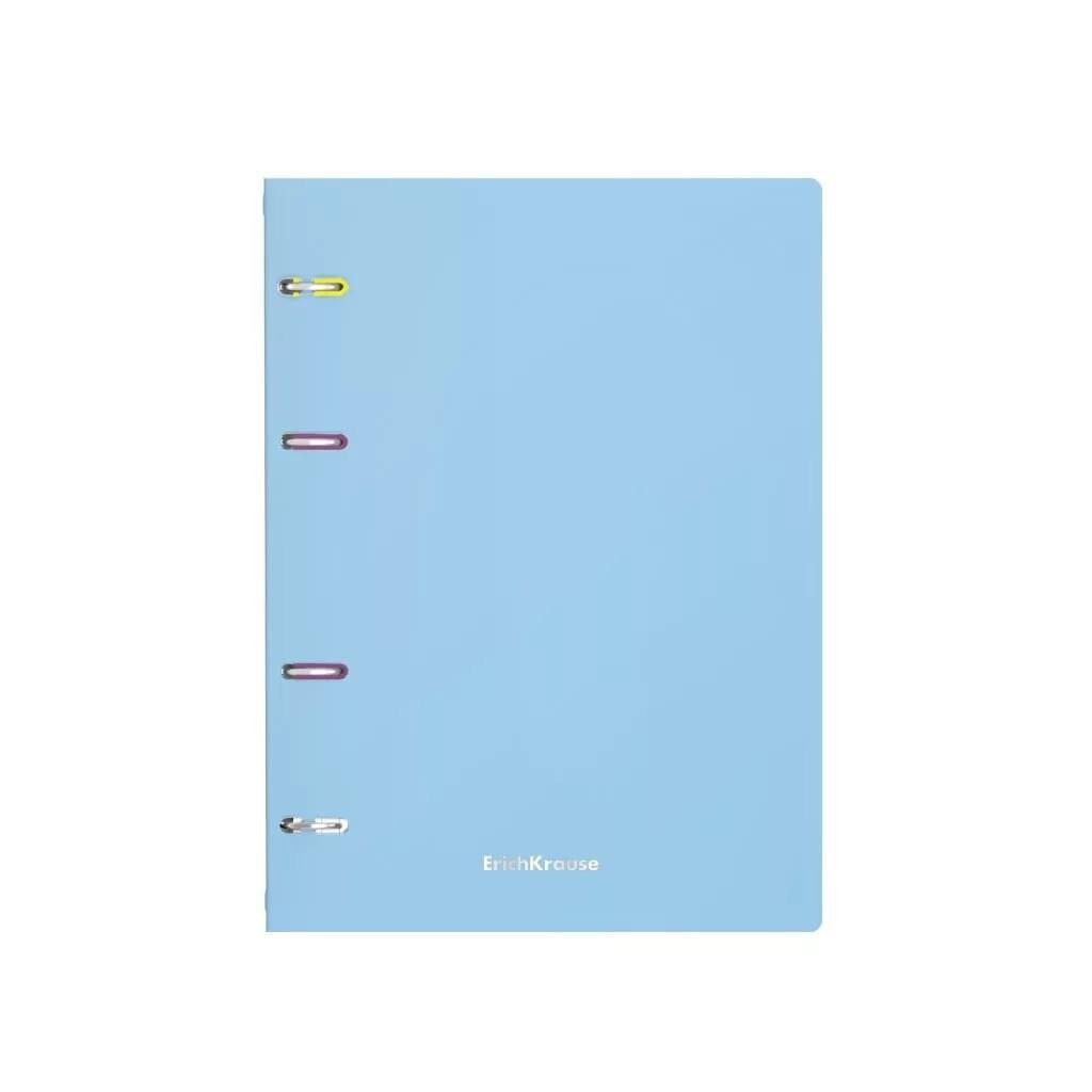 Тетрадь на кольцах А4, 80 листов в клетку ErichKrause Pastel, пластиковая обложка, голубая 50164
