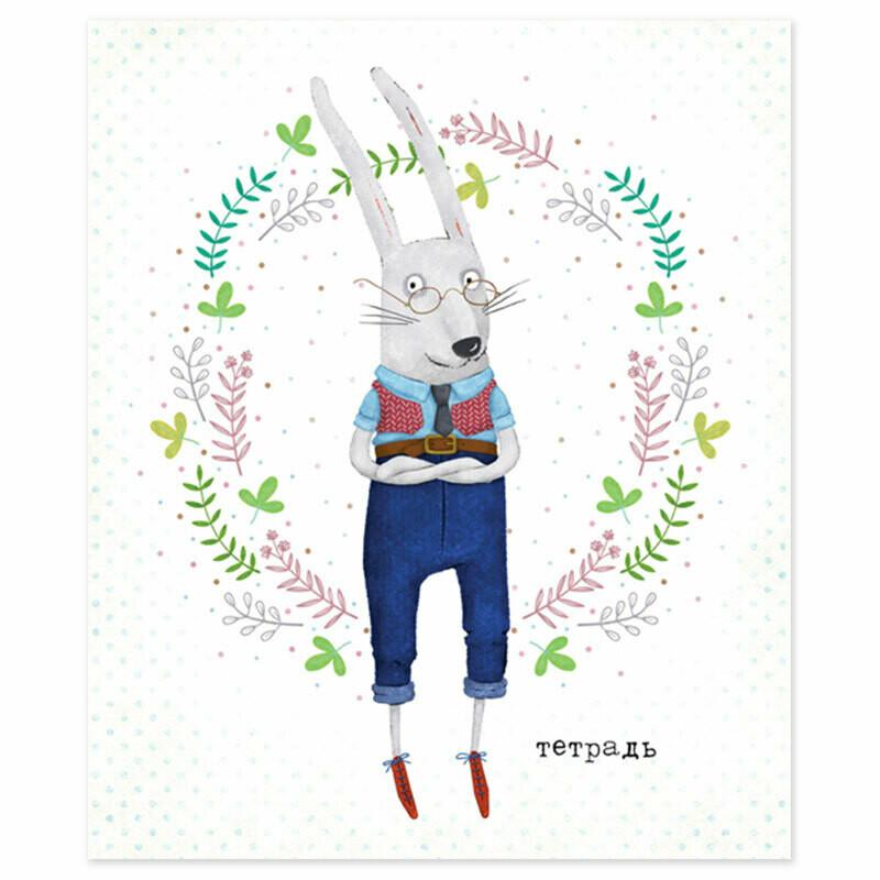 """Тетрадь общ. 48л.,  """"Портреты Звериков"""", картон,скрепка, 4+0 2703/712018"""