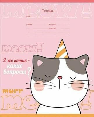 Тетрадь 18 листов, клетка, Я же котик!,4 вида Т5ск18 8203