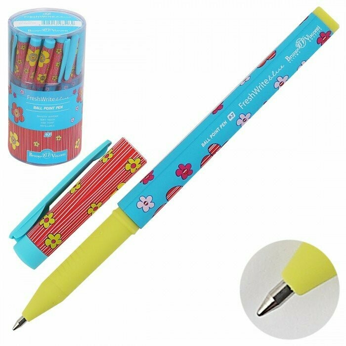Ручка шар дет FreshWrite Цветы-сердечки 20-0214/09 син пл/уп