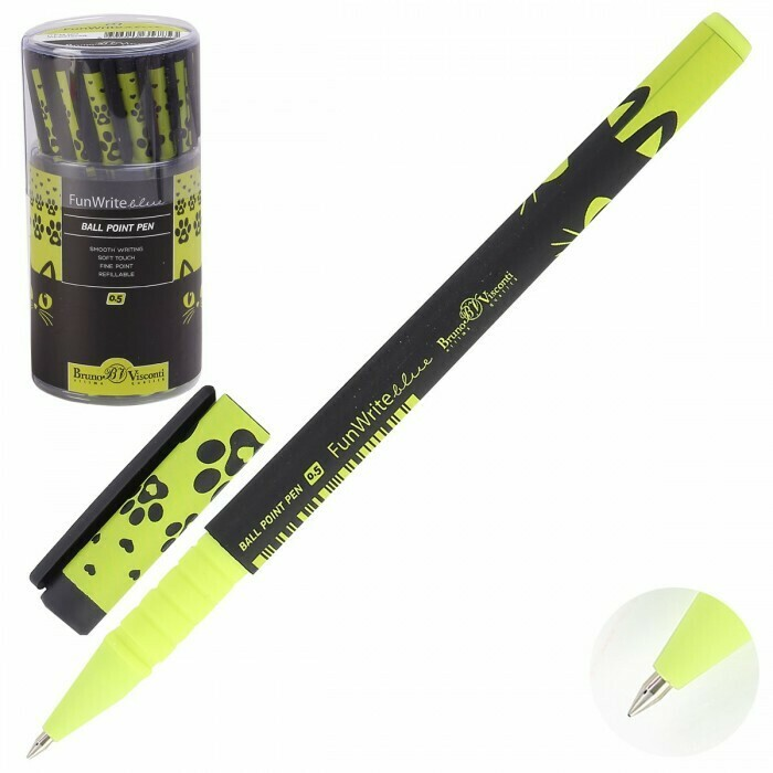Ручка шар дет 0,5 FunWrite Черный кот 20-0212/38 син пл/уп