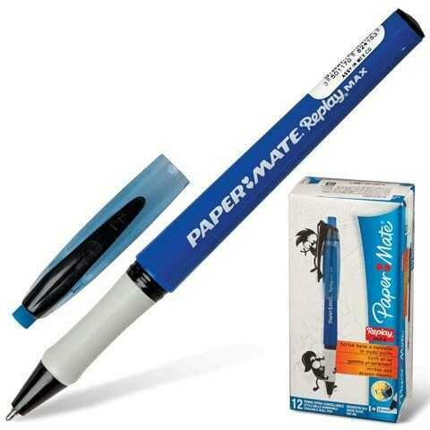 Ручка Пиши-стирай шариковая PAPER MATE Replay Max, корпус синий, 1,3мм, линия 1мм, синяя, S0835220