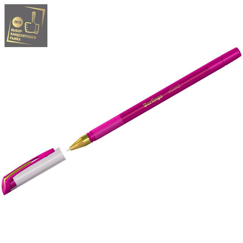 """Ручка шариковая Berlingo """"xGold"""" розовая, 0,7мм, игольчатый стержень, грип"""