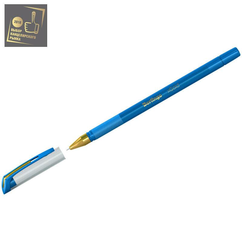 """Ручка шариковая Berlingo """"xGold"""" голубая, 0,7мм, игольчатый стержень, грип"""
