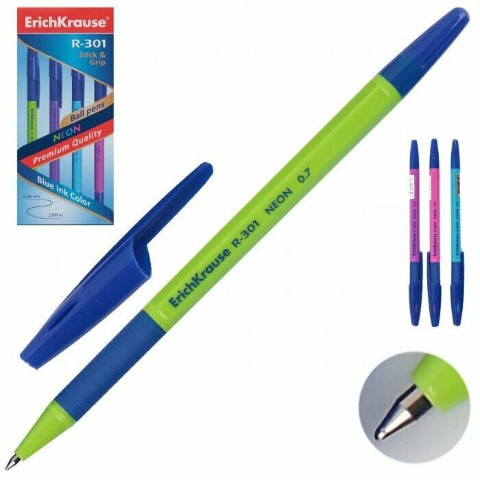 Ручка шариковая R-301 NEON 0.7 Stick&Grip (коробка 50 шт.)EK42751