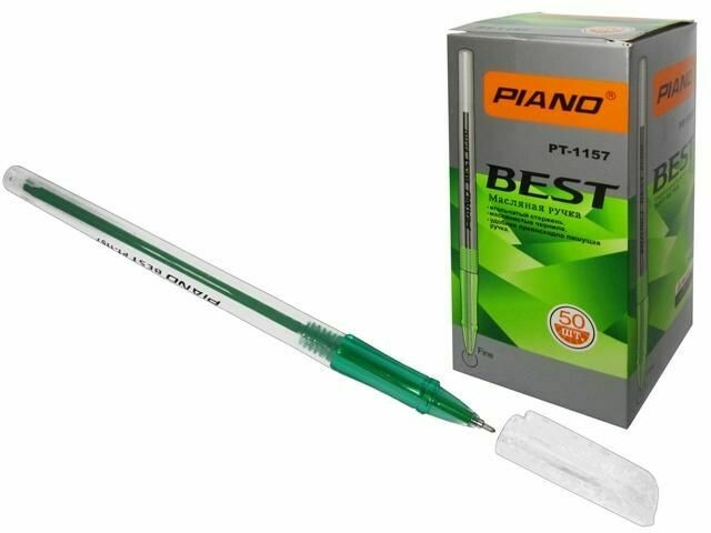 Ручка масл. шарик. PIANO PT-1157 (0.7 мм, Зеленый)