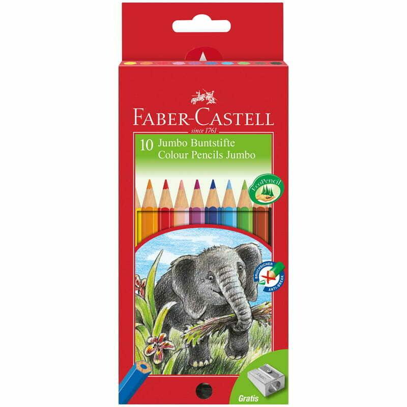"""Карандаши цветные Faber-Castell """"Jumbo"""", 10цв., утолщен., заточен., картон, европодвес, с точилкой"""