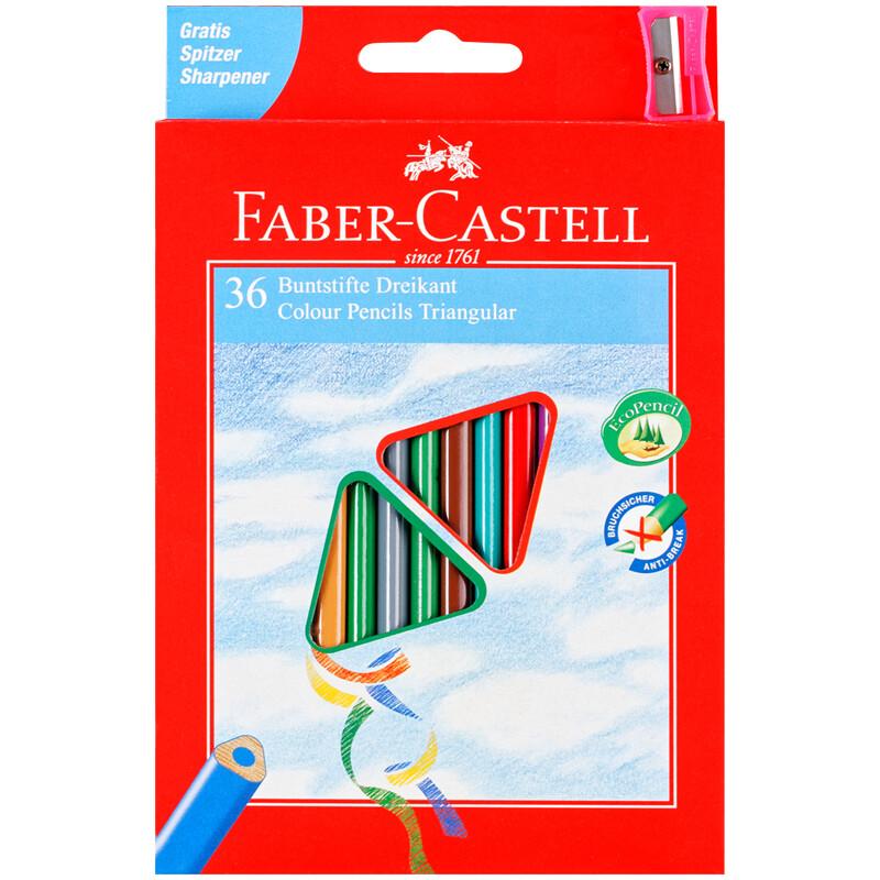 Карандаши цветные Faber-Castell 36цв., трехгран., заточен., картон, европодвес, с точилкой