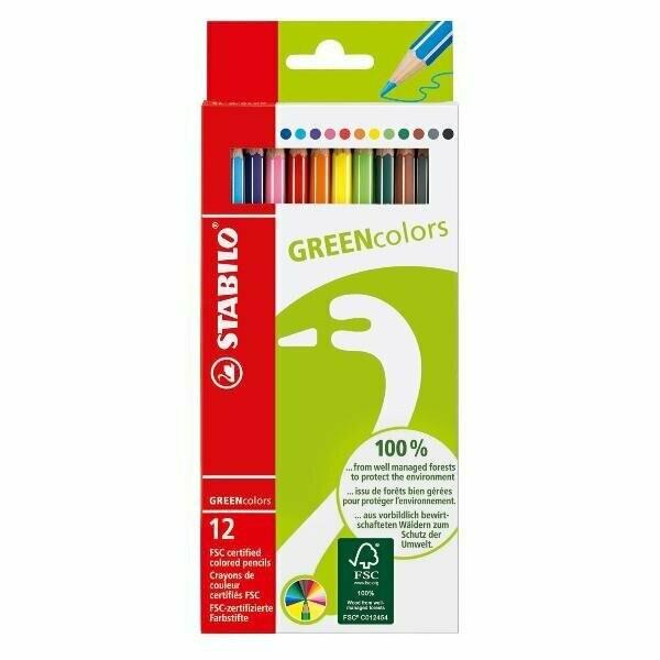 """Набор карандашей цветных Stabilo """"Green Colors"""" 12 цв"""