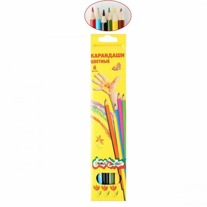 Карандаши цветные 6цв Каляка-Маляка шестигранные ККМ06 европодвес картонная коробка