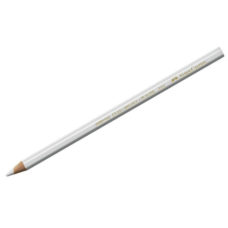 Карандаш перманентный д/письма по стеклу, фарфору Faber-Castell, белый