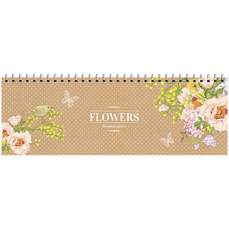 """Планинг недатированный, 305*105мм, 56л., ламинированный картон, OfficeSpace """"Цветы. Craft flowers"""""""