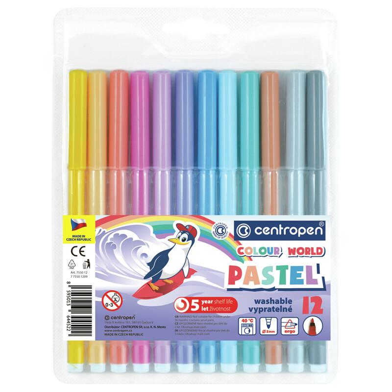 """Фломастеры Centropen """"Colour World. Pastel"""", 12цв., трехгранные, 2 мм., смываемые, блистер"""